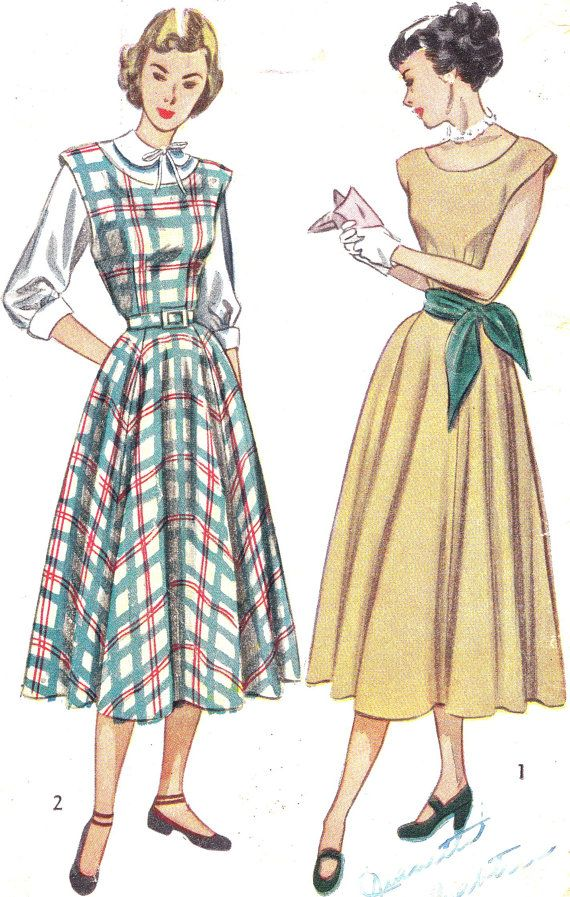 1940s Dress Pattern Simplicity 2313 Cap Sleeve Dress or Jumper and ...