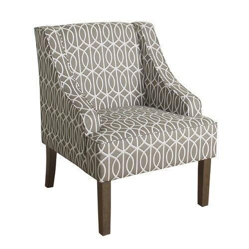 Homepop Finley Swoop Arm Accent Chair Brown Furniture