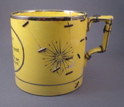 Canary Yellow Mug With 46 Staple Repairs C 1820 Via Past Imperfect The Art Of Inventive Repair Kintsugi Kintsugi Art Antique Repair