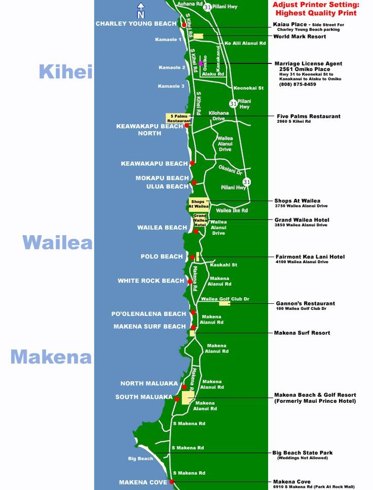 Maui Map South Side Beaches Makena Kihei Wailea Wedding Planner