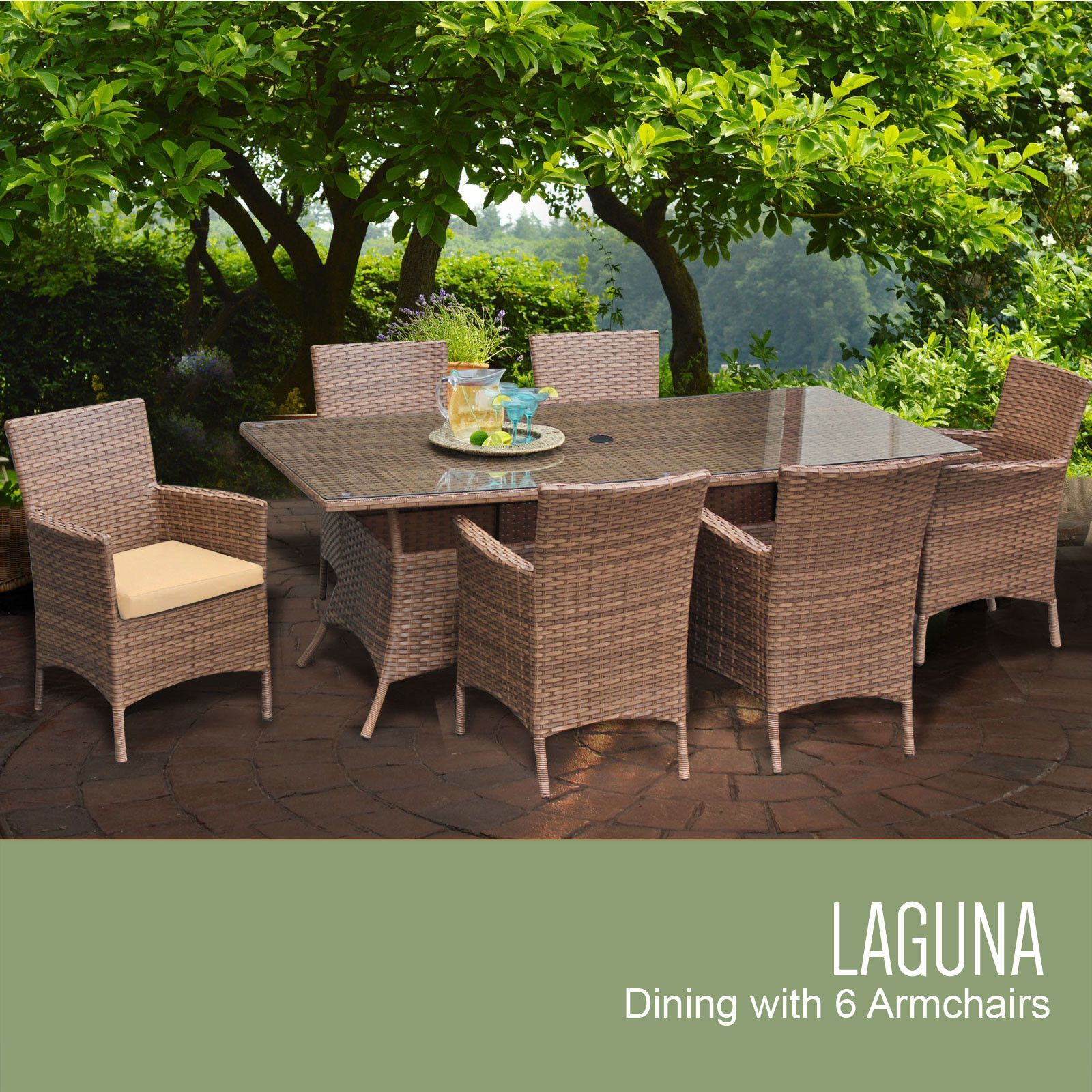 TKC Laguna Rectangular Outdoor Patio Dining Table with 6 Chairs, Sesame