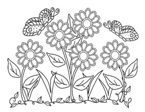 flower and butterflies coloring pages - photo#50