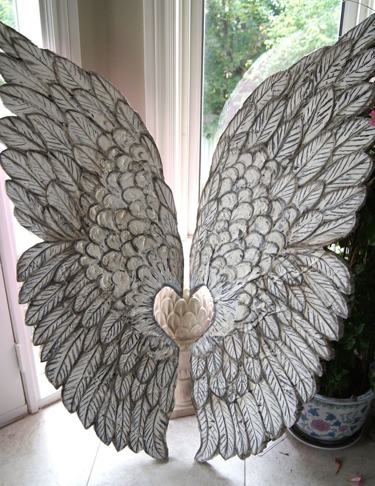 Distressed Metal Angel Wings In Grey Mediterranean Home Decor