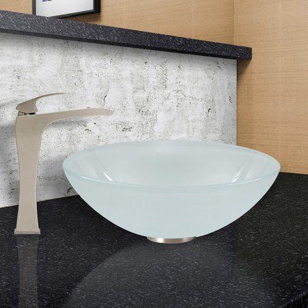 Vigo White Frost Glass Circular Vessel Bathroom Sink, Silver in 2018