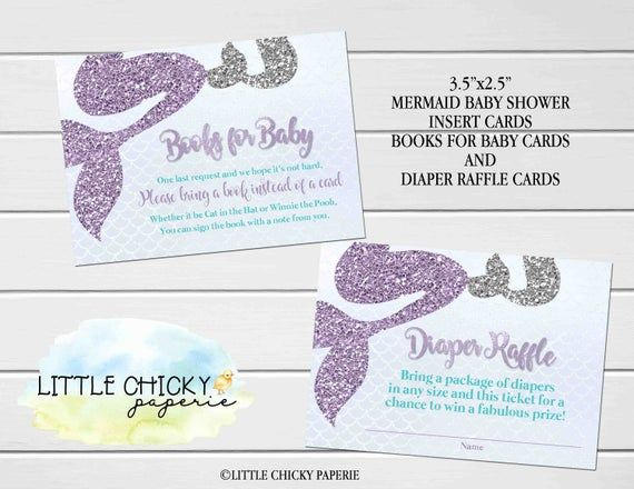 Mermaid Bring a Book and Diaper Raffle Insert Cards, Mermaid Baby Shower Insert Cards, Printable Cards