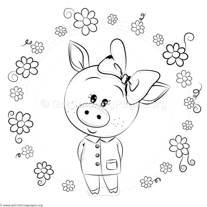 Free download Cute Piggy and Flowers Coloring Pages # ...