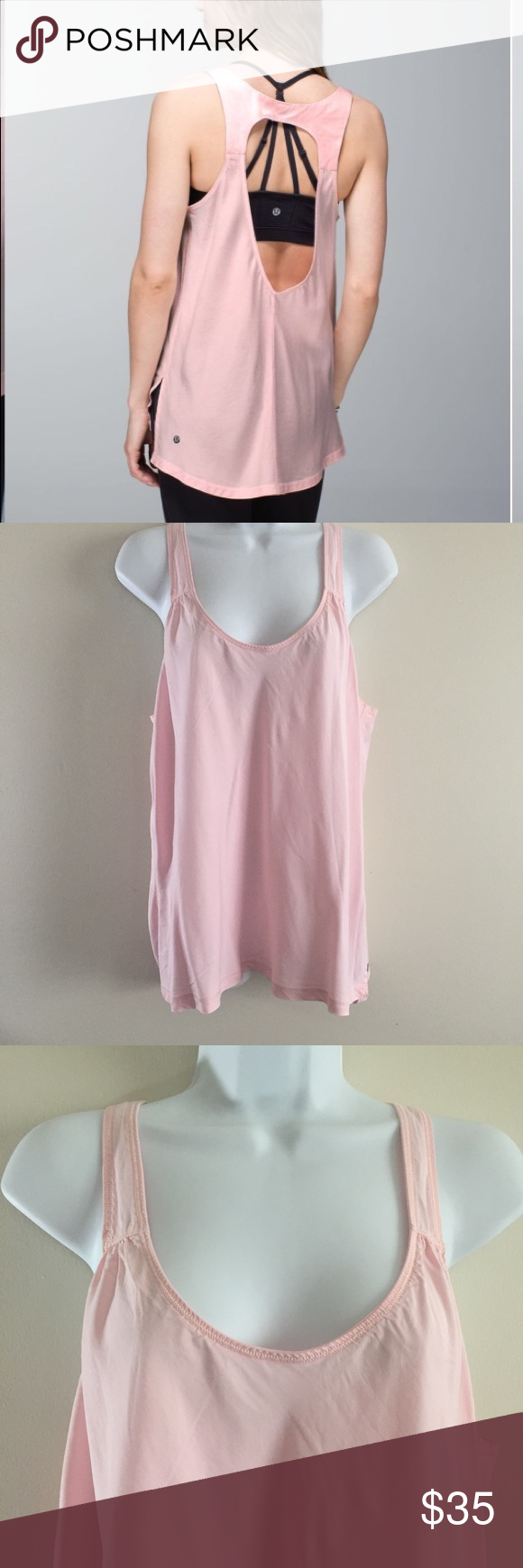 eb8e9a56c6cad2 Lululemon Peace of Mind Open Back Tank Pale Pink Lululemon Peace of Mind  Open Back Tank. Pale pink color. Side slits. Made of sweat wicking tencel  silk ...