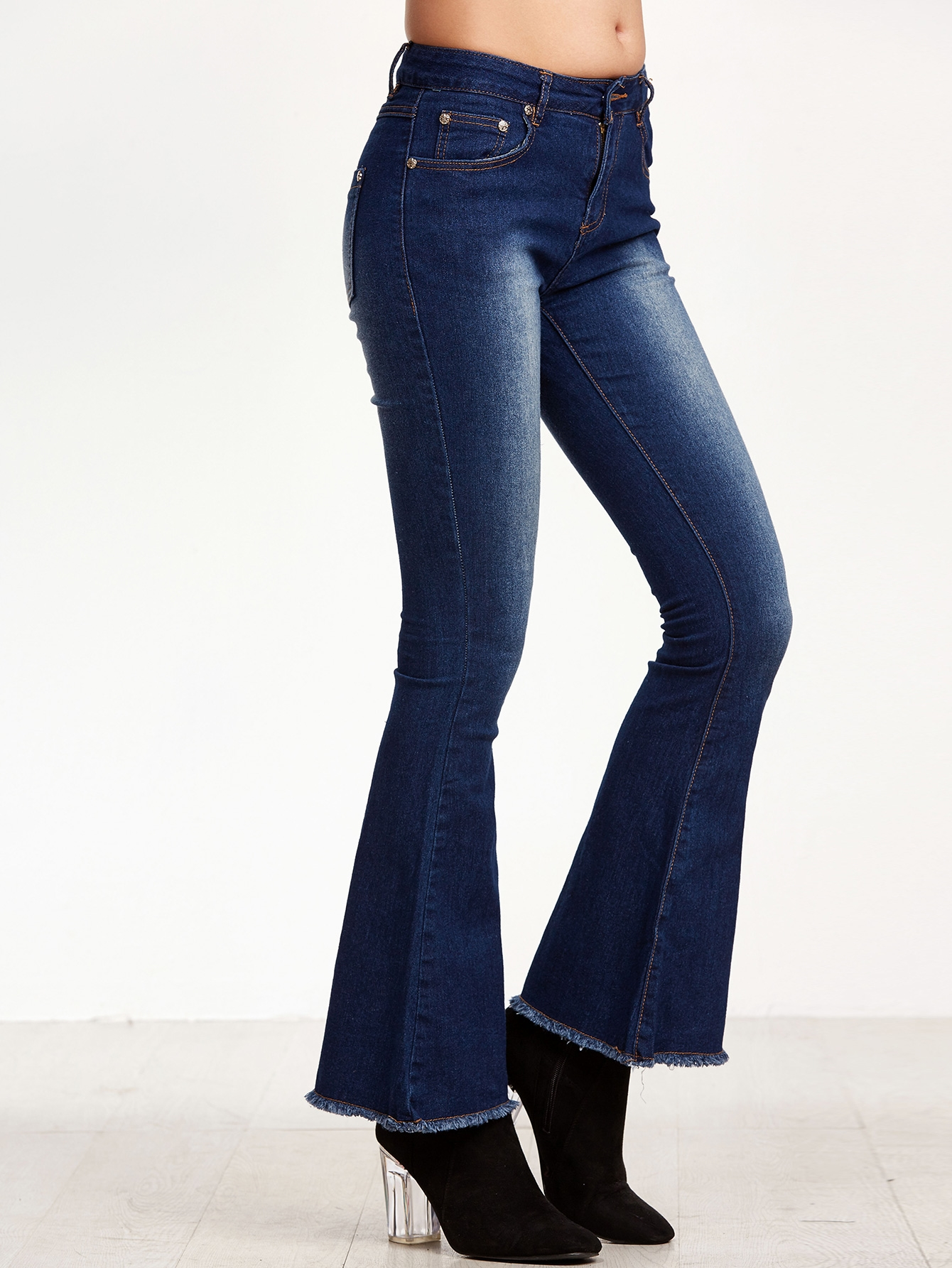20$  Buy here - http://difv1.justgood.pw/go.php?t=14945 - Dark Blue Bleach Raw Hem Flare Jeans 20$