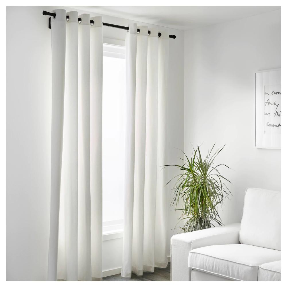 Merete Room Darkening Curtains 1 Pair Bleached White 57x98 Ikea White Curtains Living Room White Curtains Bedroom Floor To Ceiling Curtains