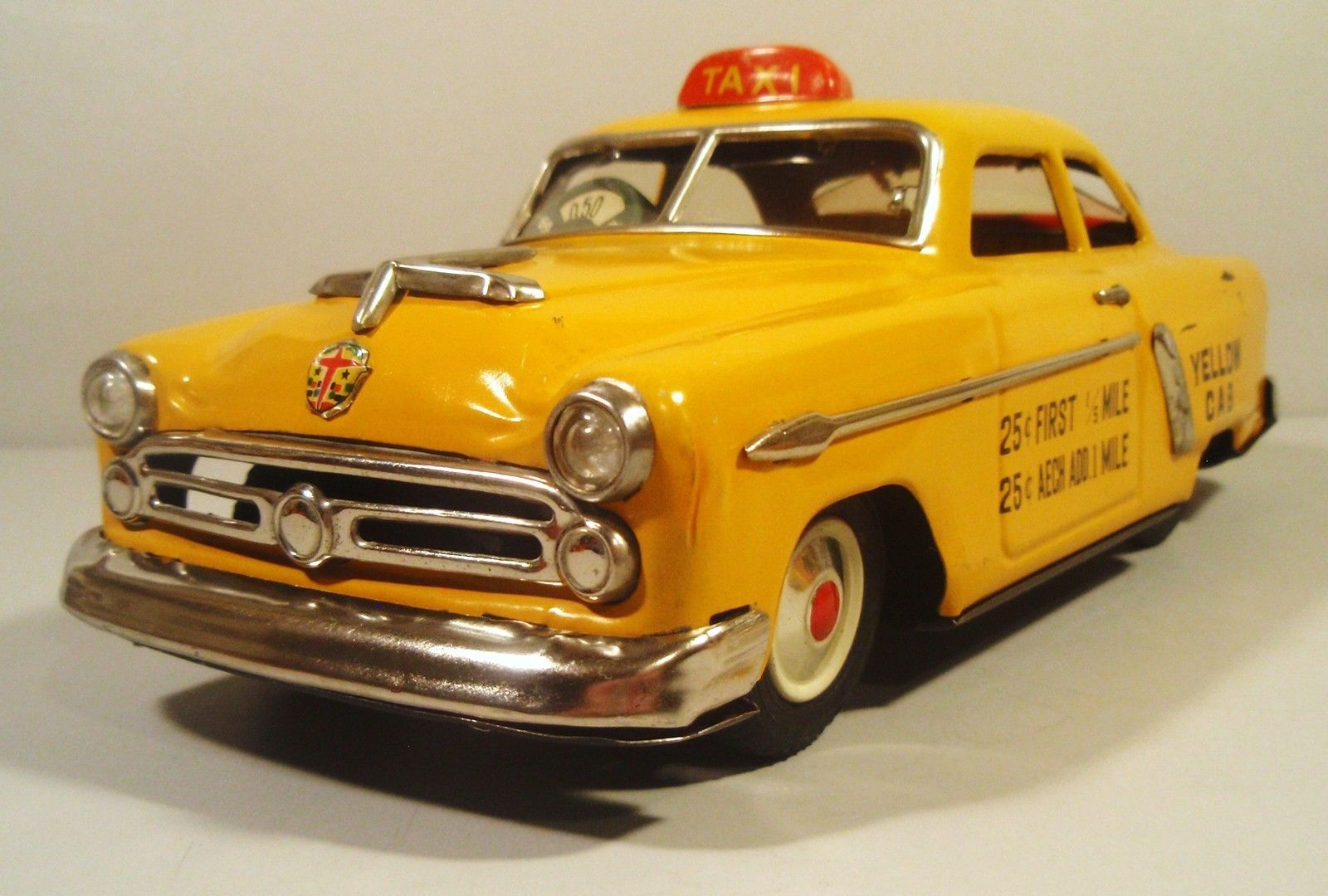 Tin Friction 1952 Ford Mercury Taxi Cab Car w Meter Marusan Japan
