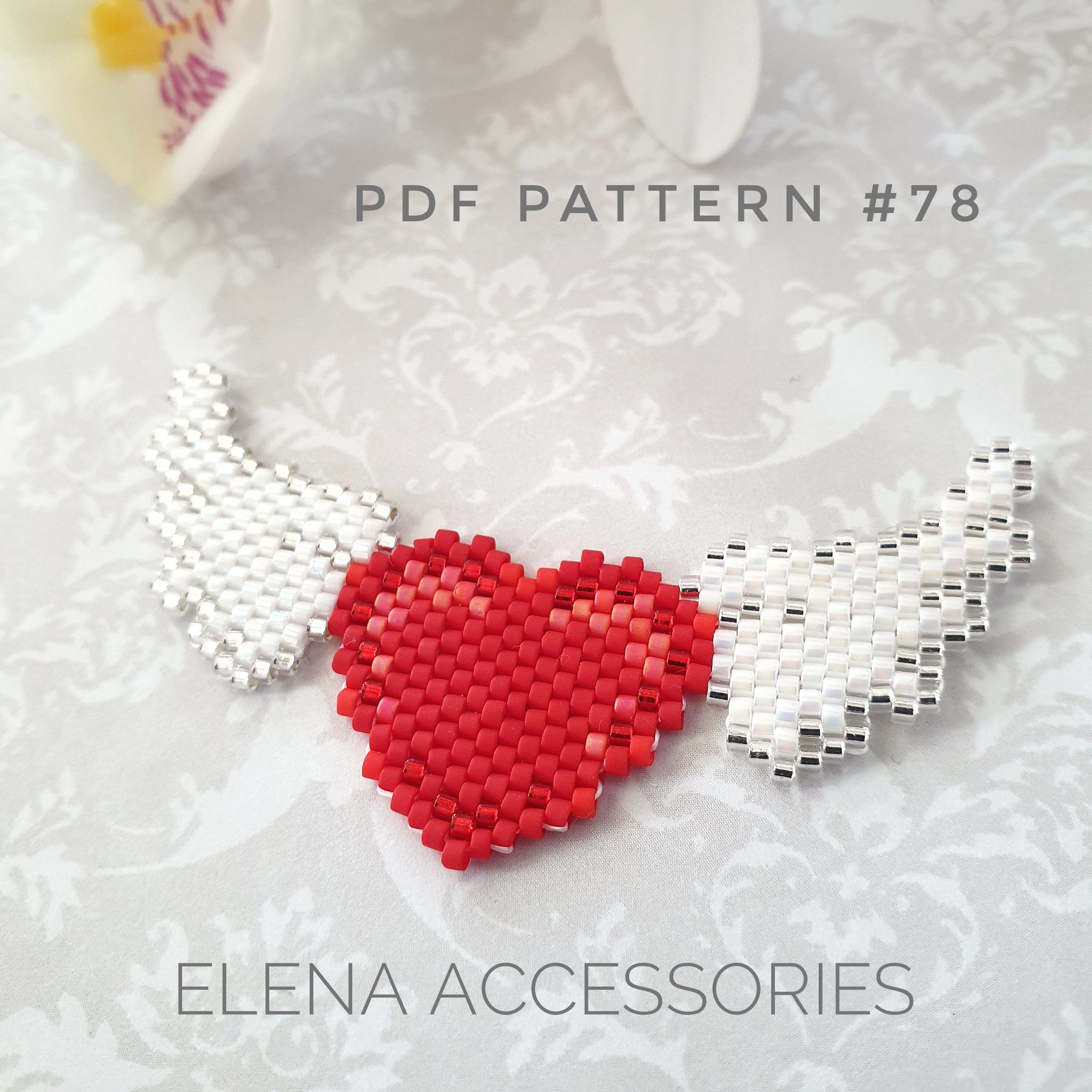 Heart with wings Valentine's Day brooch necklace brick stitch PDF pattern for miyuki delika seed beads beading pattern #78-#beading #beads #brick #brooch #Day #delika #heart #miyuki #necklace #pattern #pdf #seed #stitch #valentine #Valentines #wings