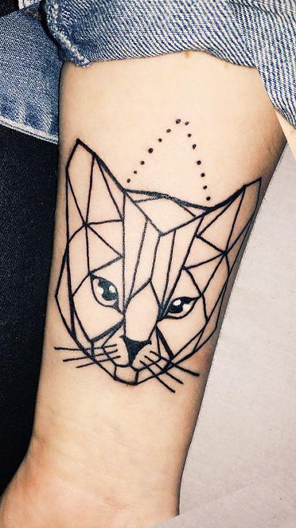 9342d70adc5e5 Geometric Cat Forearm Tattoo Ideas for Women - Cool and Unique Arm Wrist  Tat - www.MyBodiArt.com