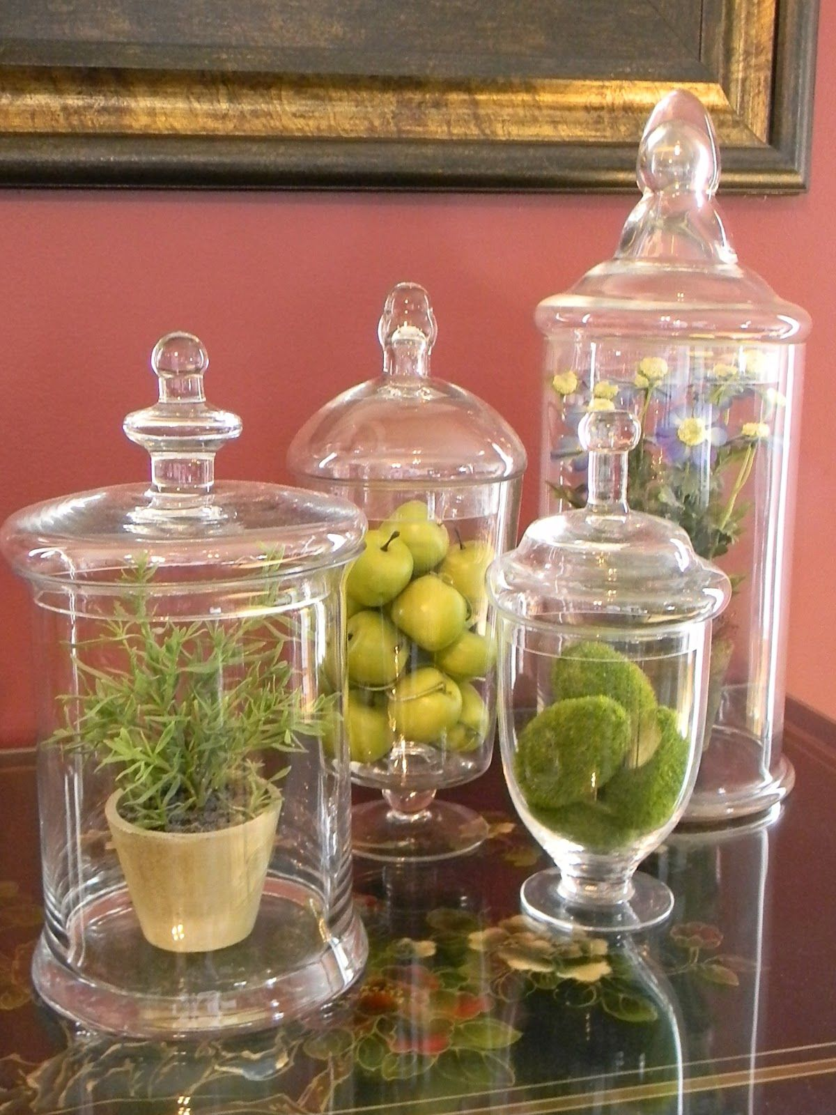 apothecary jars what to put in them bungalow home staging redesign apothecary jars. Black Bedroom Furniture Sets. Home Design Ideas