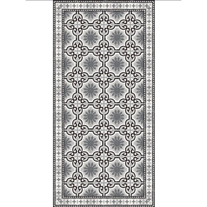 tapis vinyle pvc motifs carreaux de ciment noir et blanc. Black Bedroom Furniture Sets. Home Design Ideas