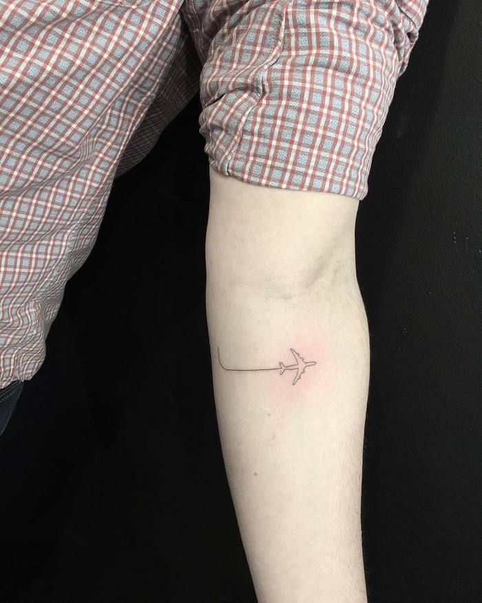 Minimalist Airplane Tattoo By Mnsantanatattoo Airplane Tattoos