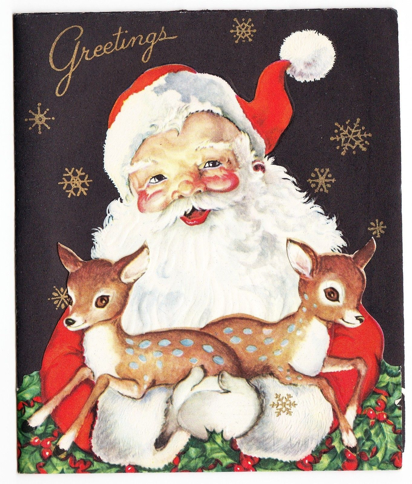 Vintage Christmas Card With Santa Claus Holding Baby