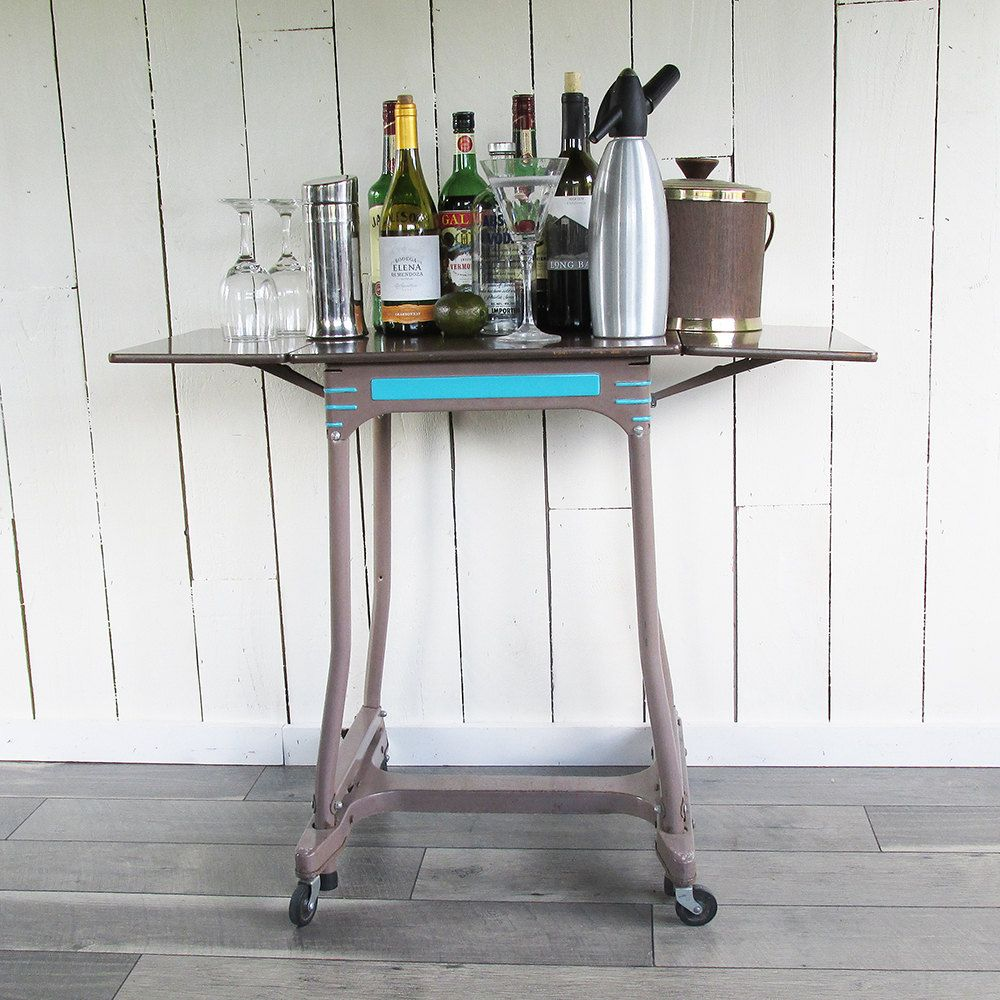 Mid Century Hon Steel Typewriter Table Bar Cart Side Table Home Decor Table Side Table