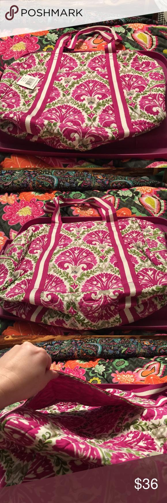 "Vera Bradley sport duffel julep tulip Outside has a slip through compartment for yoga mat or umbrella. Zip top closure. Inside has 3 mesh slip pockets. Approx size is.          17 1/4 w x 12"" h x 7"" d. Vera Bradley Bags Travel Bags"
