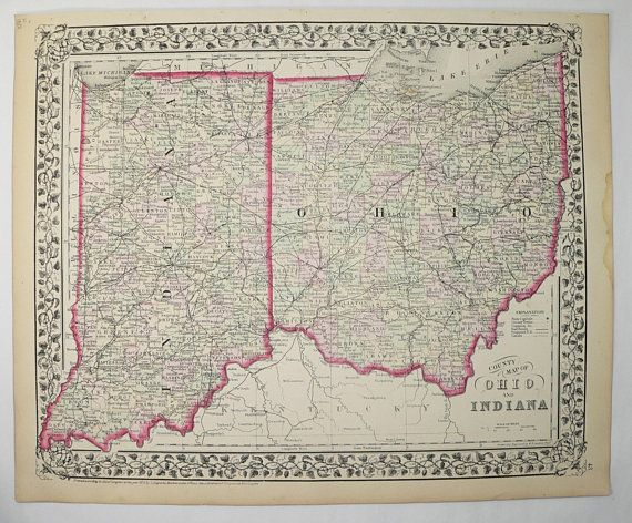 Old Indiana Map Ohio Vintage IN Map OH 1872 Mitchell Map Indiana