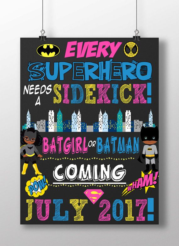 Every Superhero Needs A Sidekick Sign By Customprintablesny Baby Gender Reveal Baby Gender Reveal Party Superhero Baby Shower