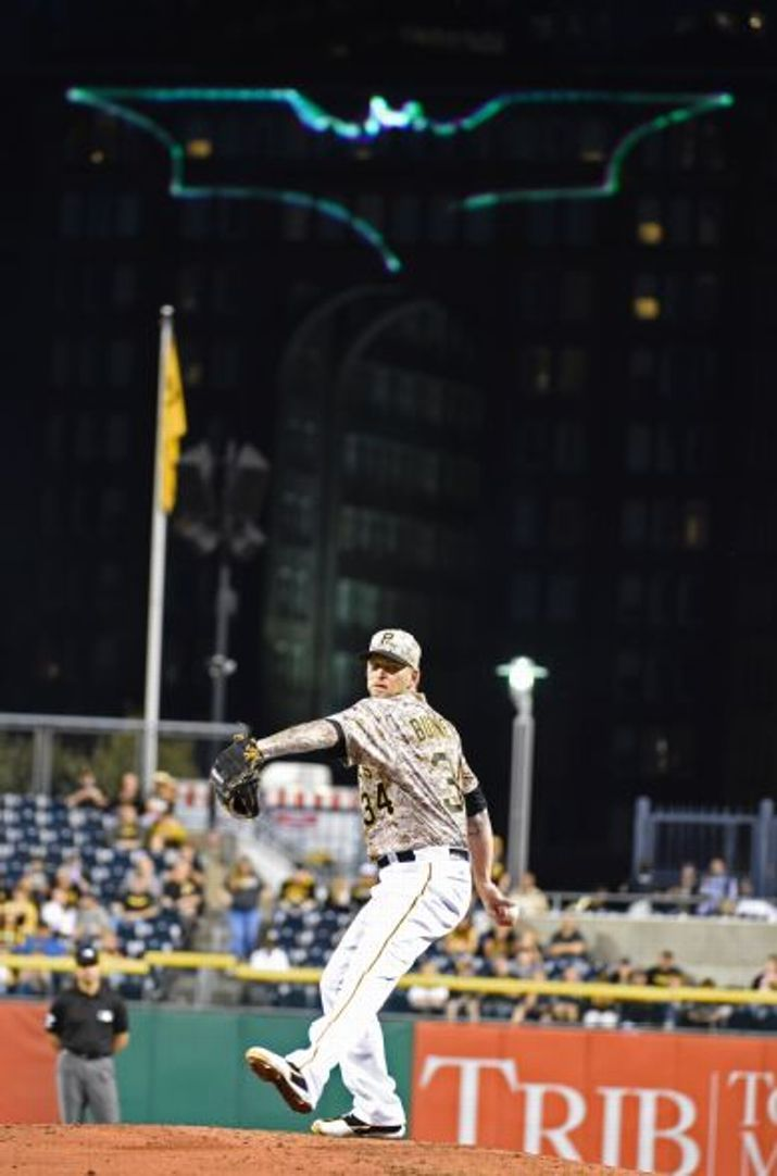 A J Burnett, PIT : the bat signal goes out in Pittsburgh for Burnett's return to the rotation from the DL//Sept 2015 v MIL
