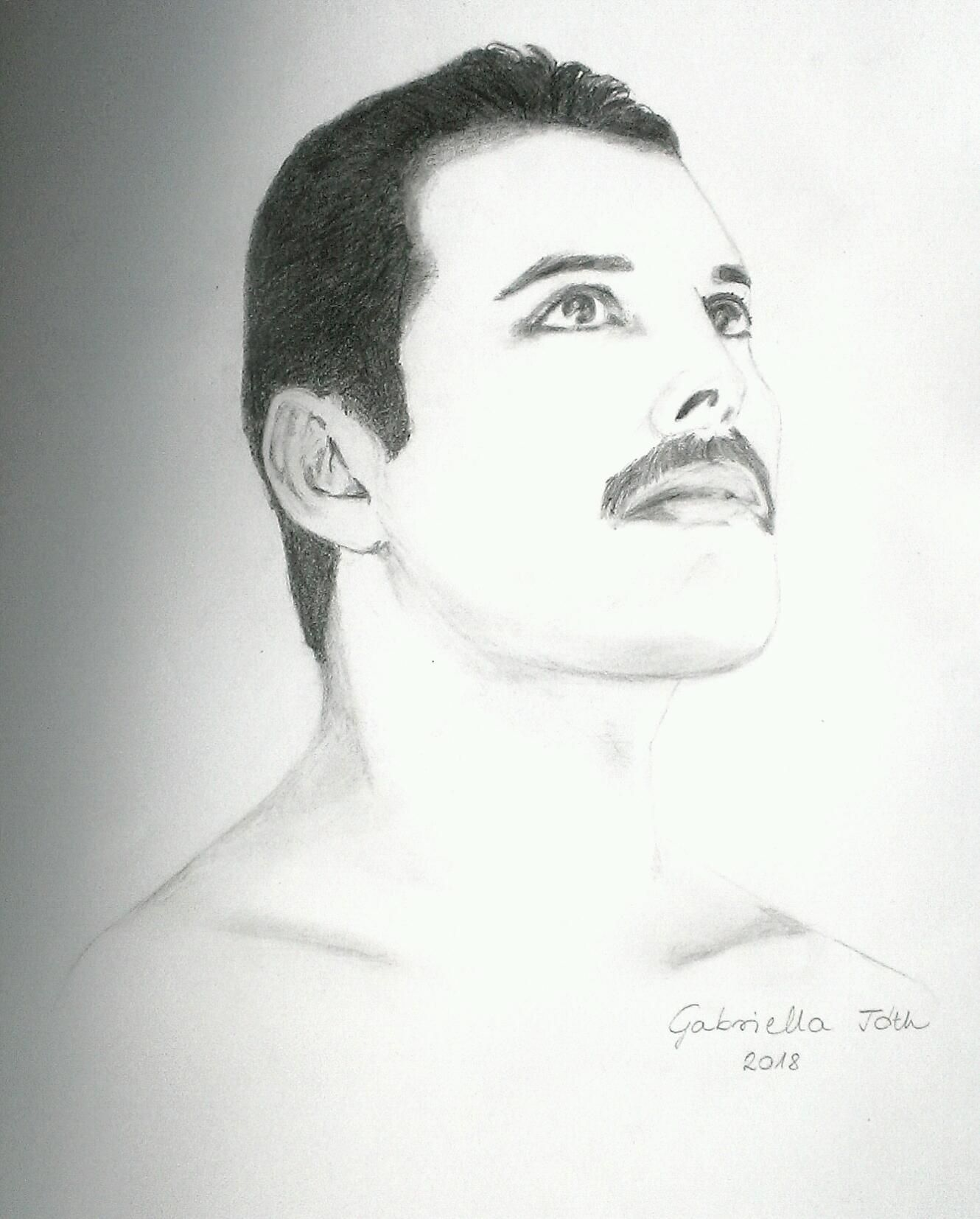 Pencil drawing of freddie mercury queen by gabriella tóth drawings of music pencil