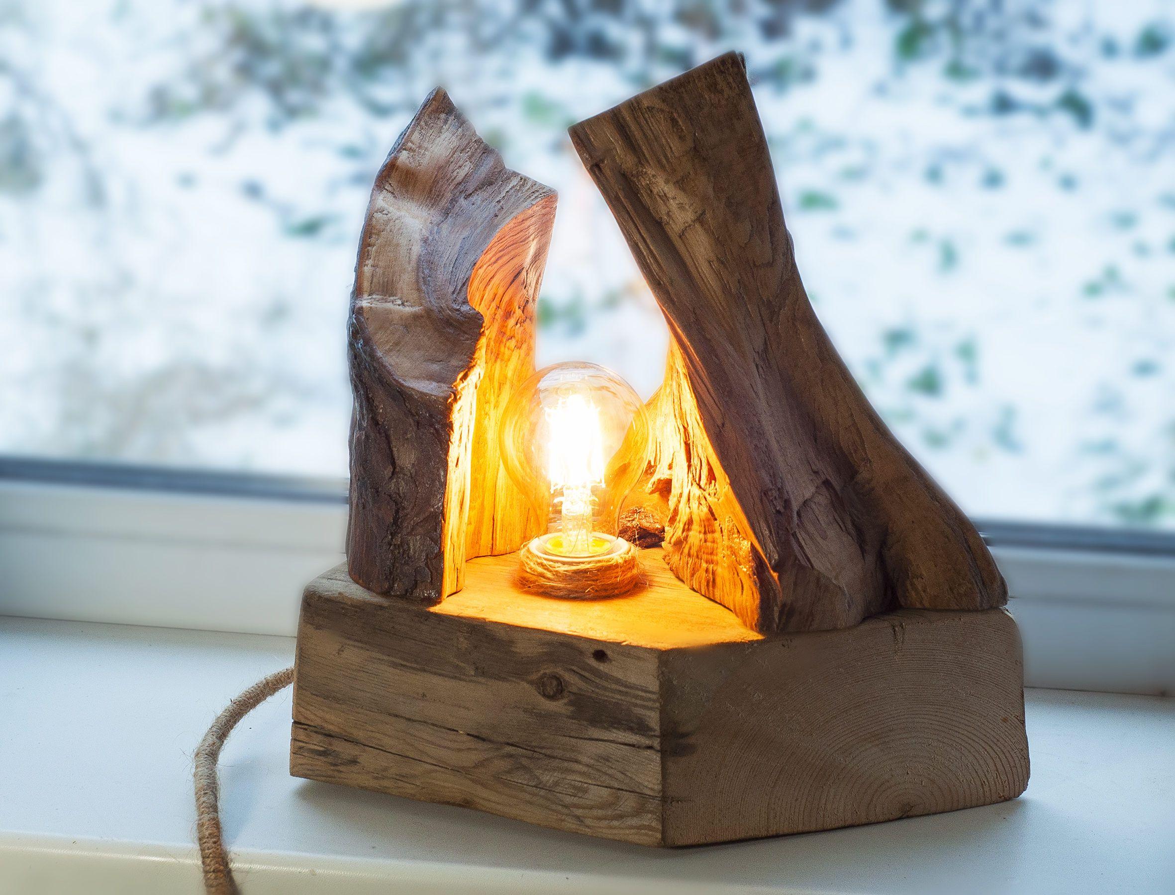 Wooden lamp Natural light Wood lamp Rustic light Driftwood lamp Handcrafted light Natural wood lamp Desk Light Wood log lamp