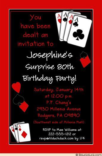 casual casino party invitation birthday surprise unforgettable