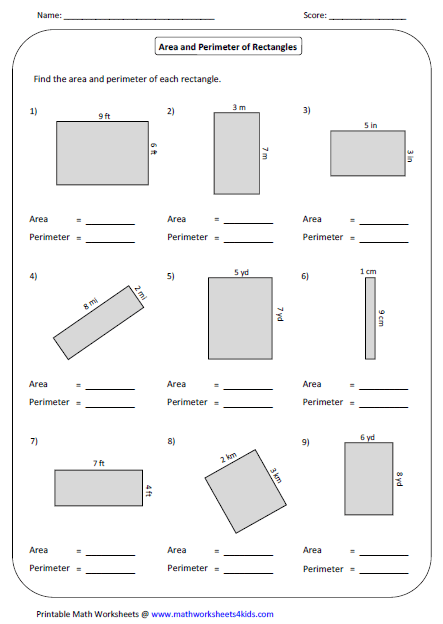 Rectangle Worksheets Area Worksheets Perimeter Worksheets Area And Perimeter