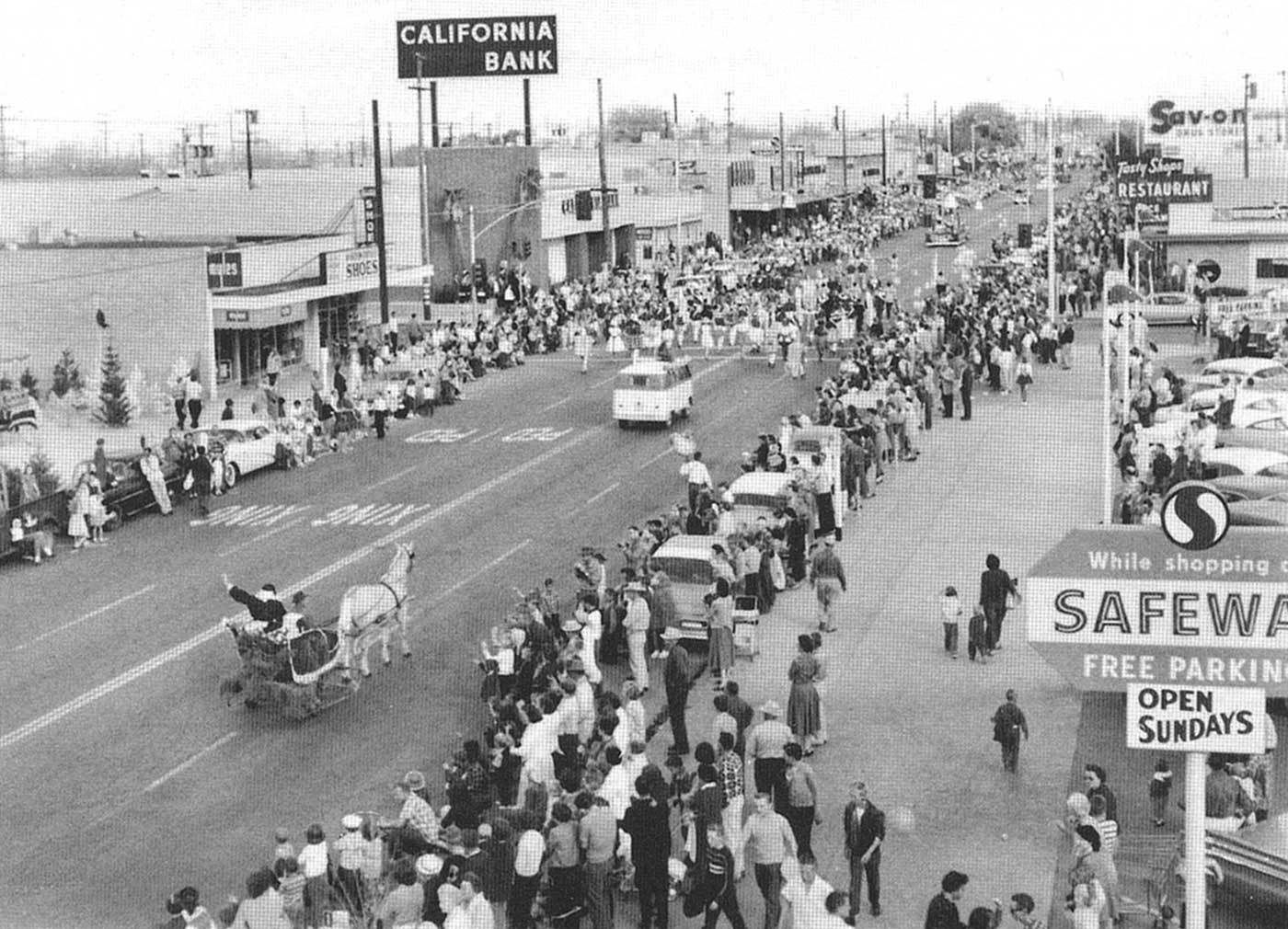 downtown lancaster christmas parade 1959 lancaster california