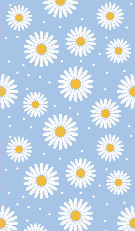 background, blue,  #chamomile, creative, delicate, design, fabric, flora, flowers, freshness, orange, packaging, pattern, plant, repetition, seamless, spring, summer, textile, upholstery, vector, wallpaper, white, ромашки, цветы, фон
