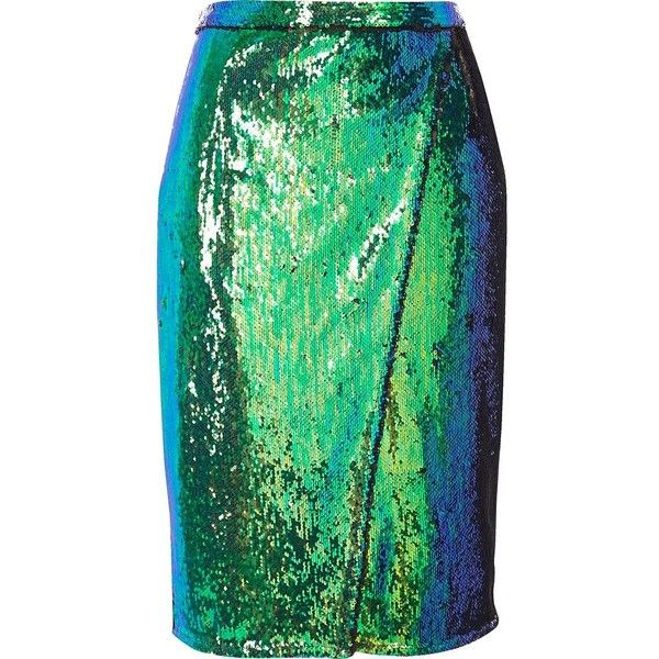 46c2e2fa21 River Island Bright turquoise sequin wrap midi skirt ($46) ❤ liked on  Polyvore featuring skirts, bottoms, green skirt, wrap skirts, calf length  skirts, ...