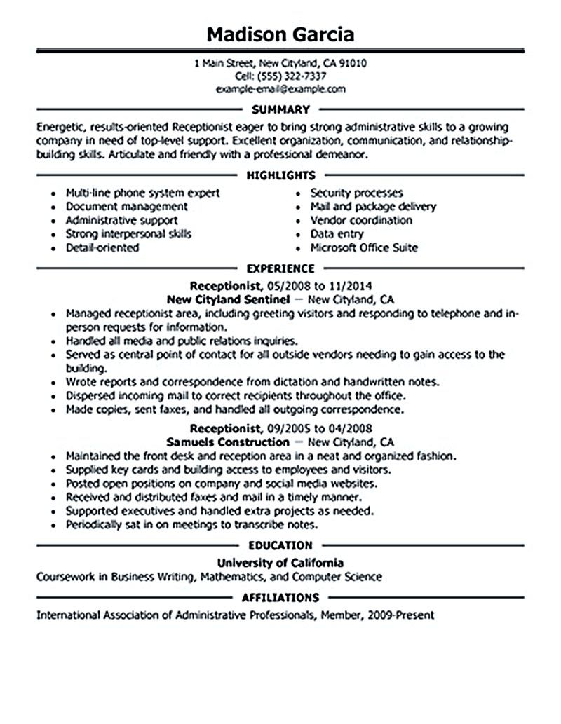 Examples Of Resume Objectives For Receptionist