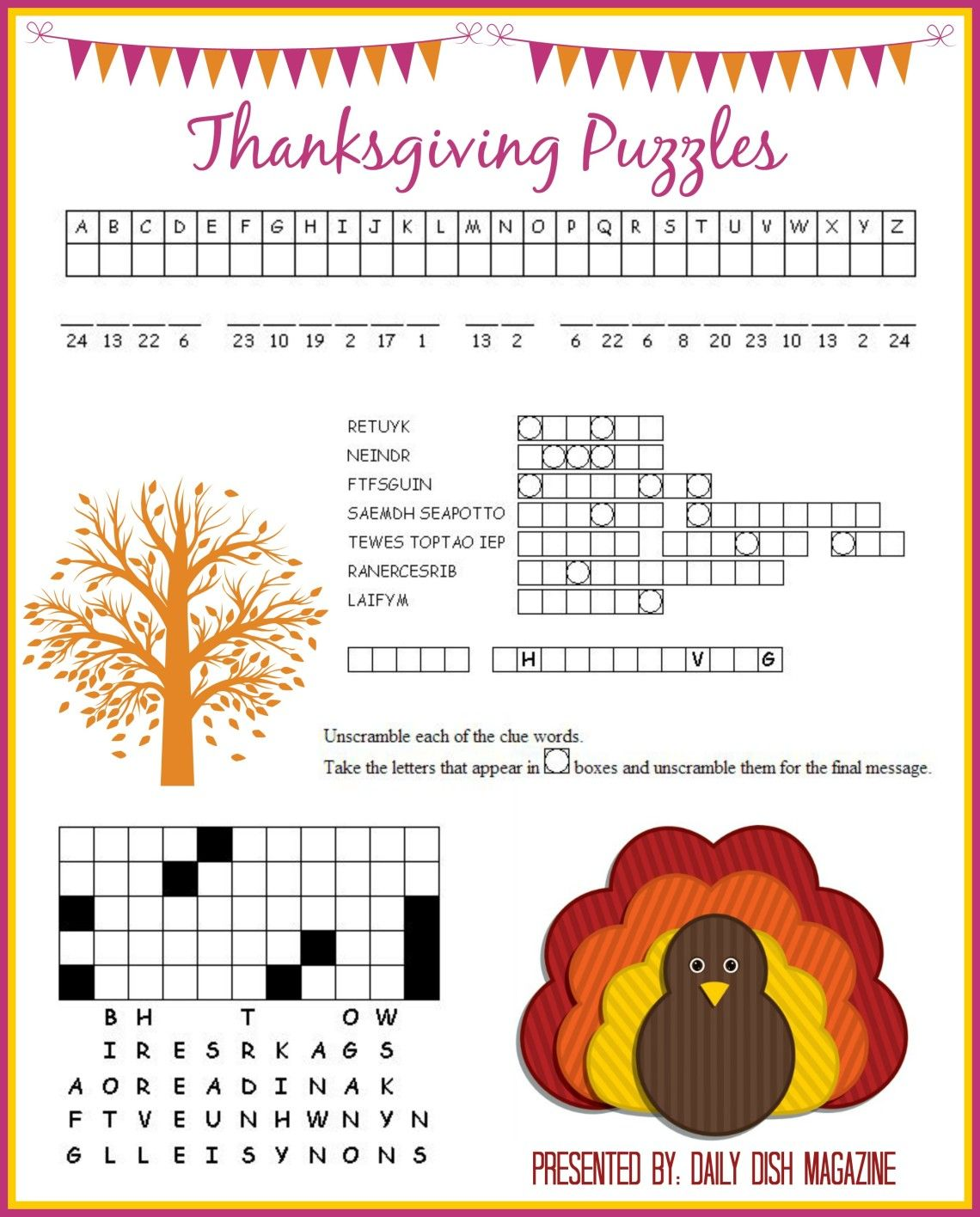 Thanksgiving Puzzles Printables