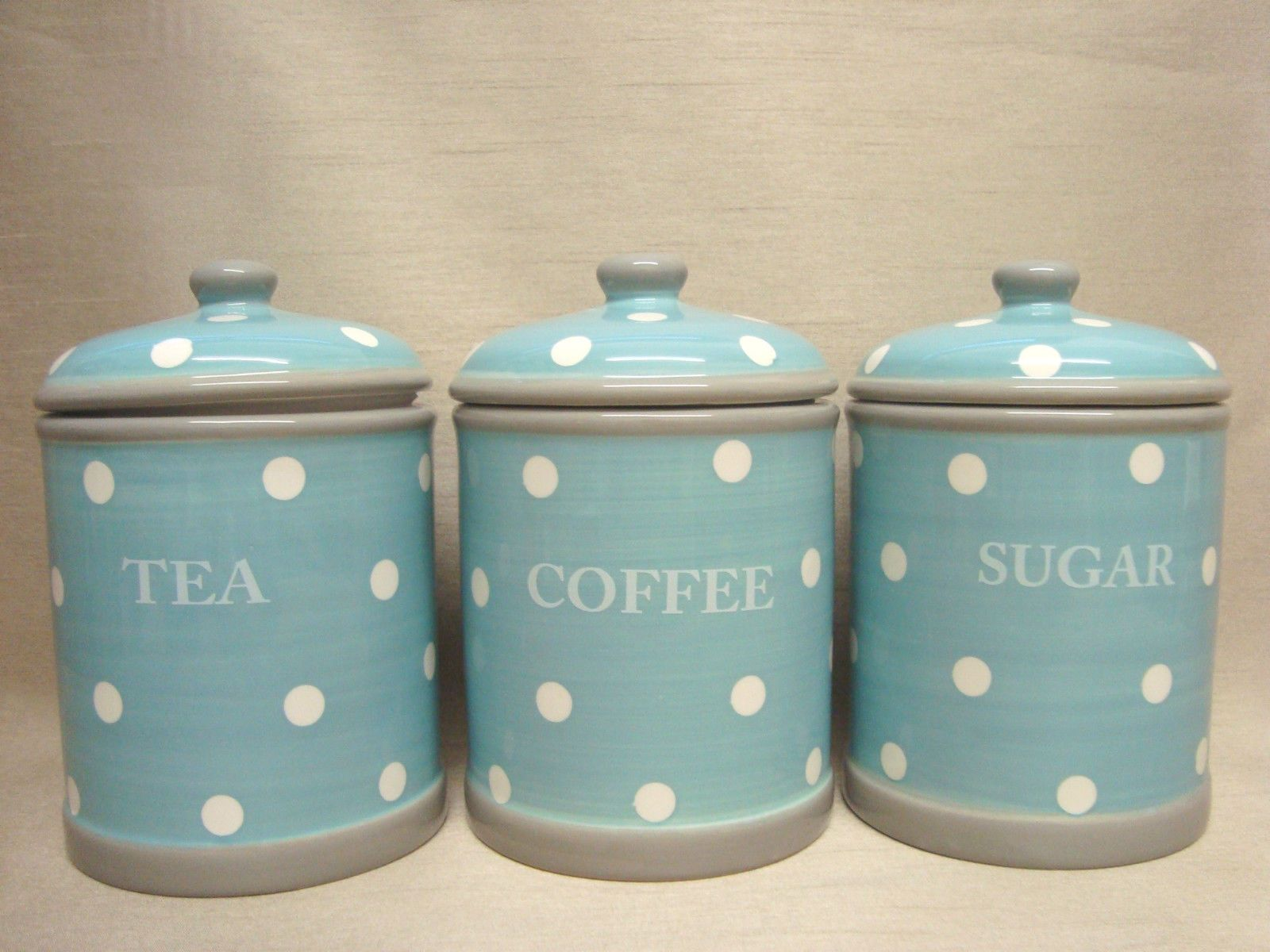 Duck Egg Blue White Polka Dots Ceramic Tea Coffee Sugar Jars