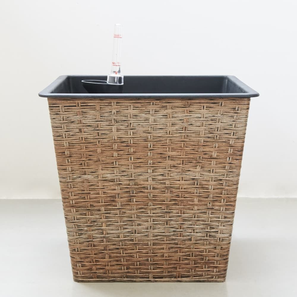Garfield Thin Square Wicker Smart Self Watering Planter In Light Brown In 2020 Self Watering Planter Self Watering Wicker Planter