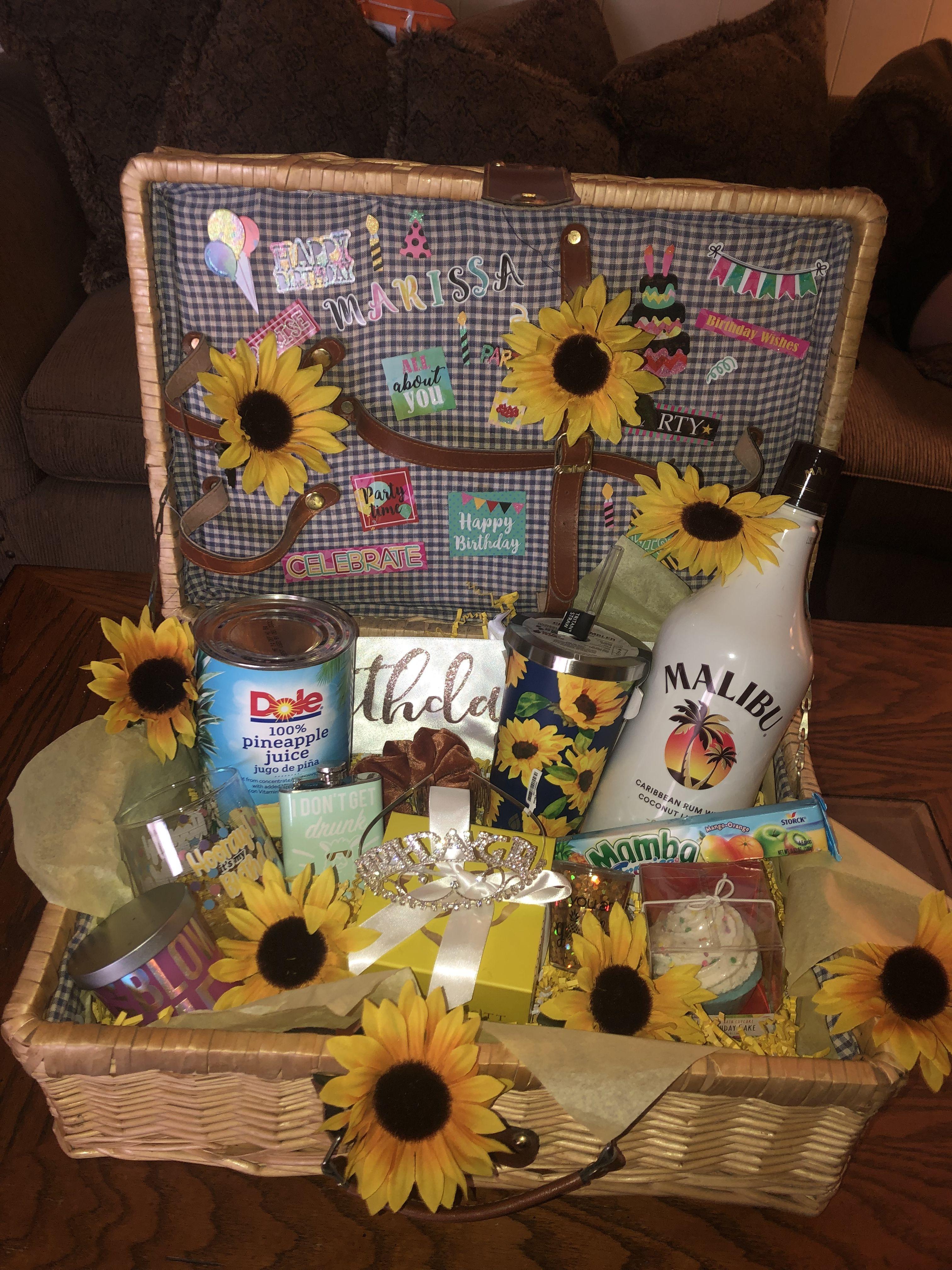 Best friends 21st sunflower birthday gift basket box