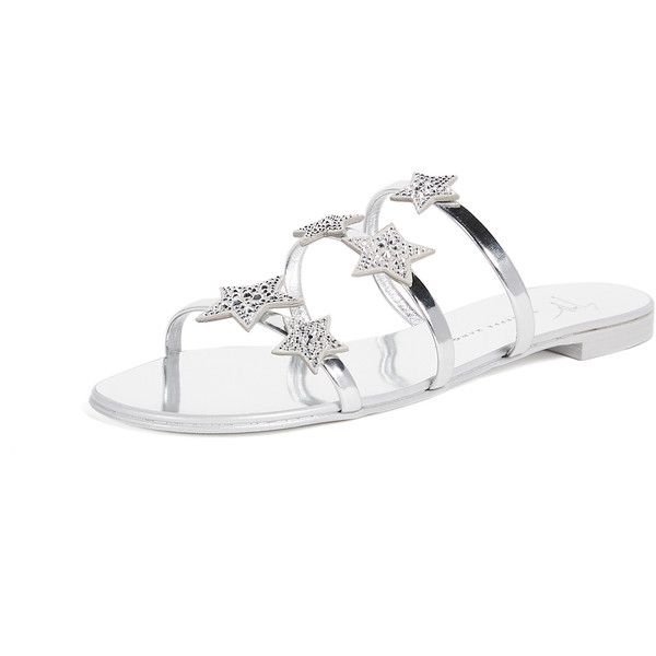 3843531ce20 Giuseppe Zanotti Flat Star Sandals (2.460 BRL) ❤ liked on Polyvore  featuring shoes