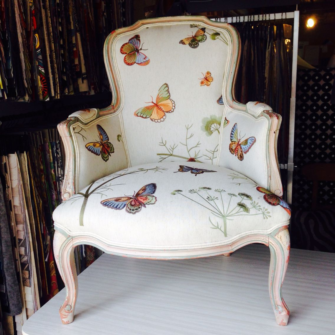Butterfly Louis Chair Upholstered In Our Customer S Own Fabric Pretty Upholstered Chairs Chair Upholstery Furniture Makeover