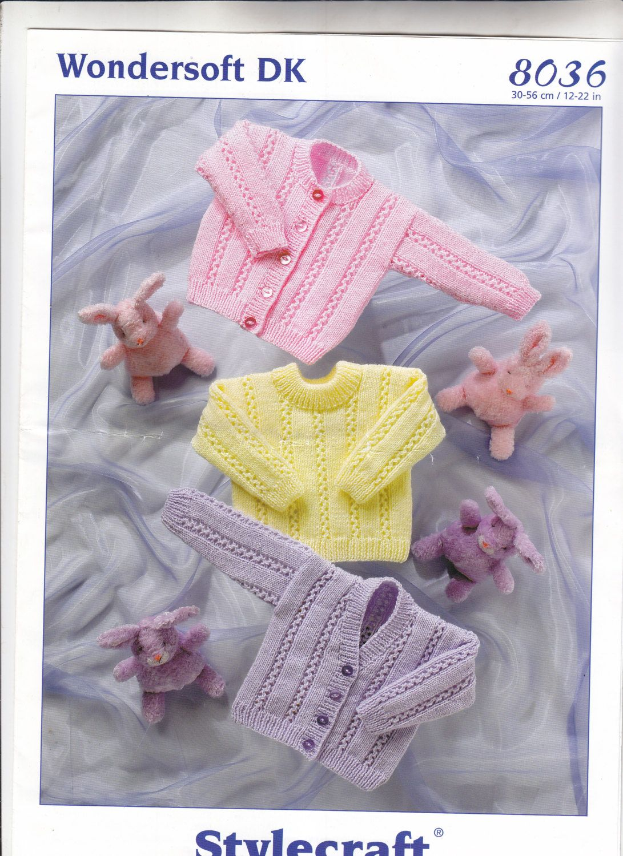 8036 Stylecraft Knitting Pattern Baby\'s Cardigans & Sweater 12-22 ...
