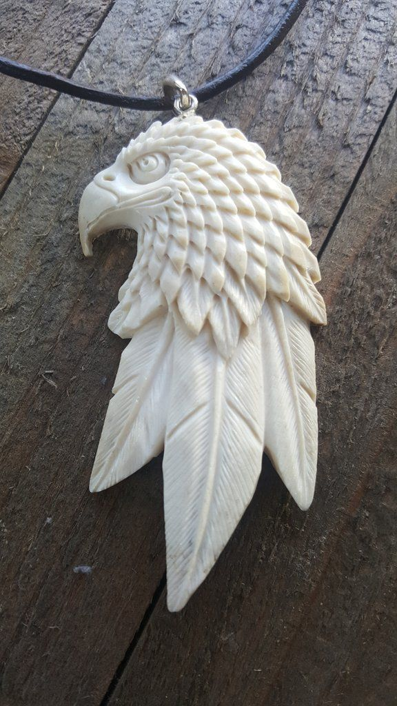 Hand Carved Deer Antler Eagle With 3 Long Feathers At Bottom Pendant Necklace Pendant Comes On A Leather Necklac Bone Carving Carving Feather Pendant Necklace