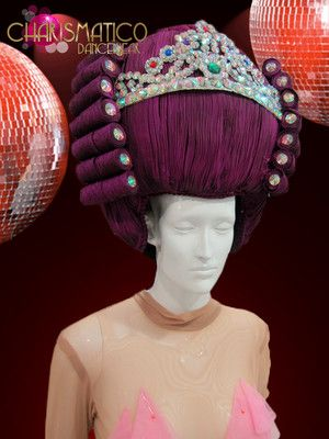 0d8bbbe8 Charismatico Barque Styled Purple Drag Queen Wig Headdress with Crystal  Accents | eBay
