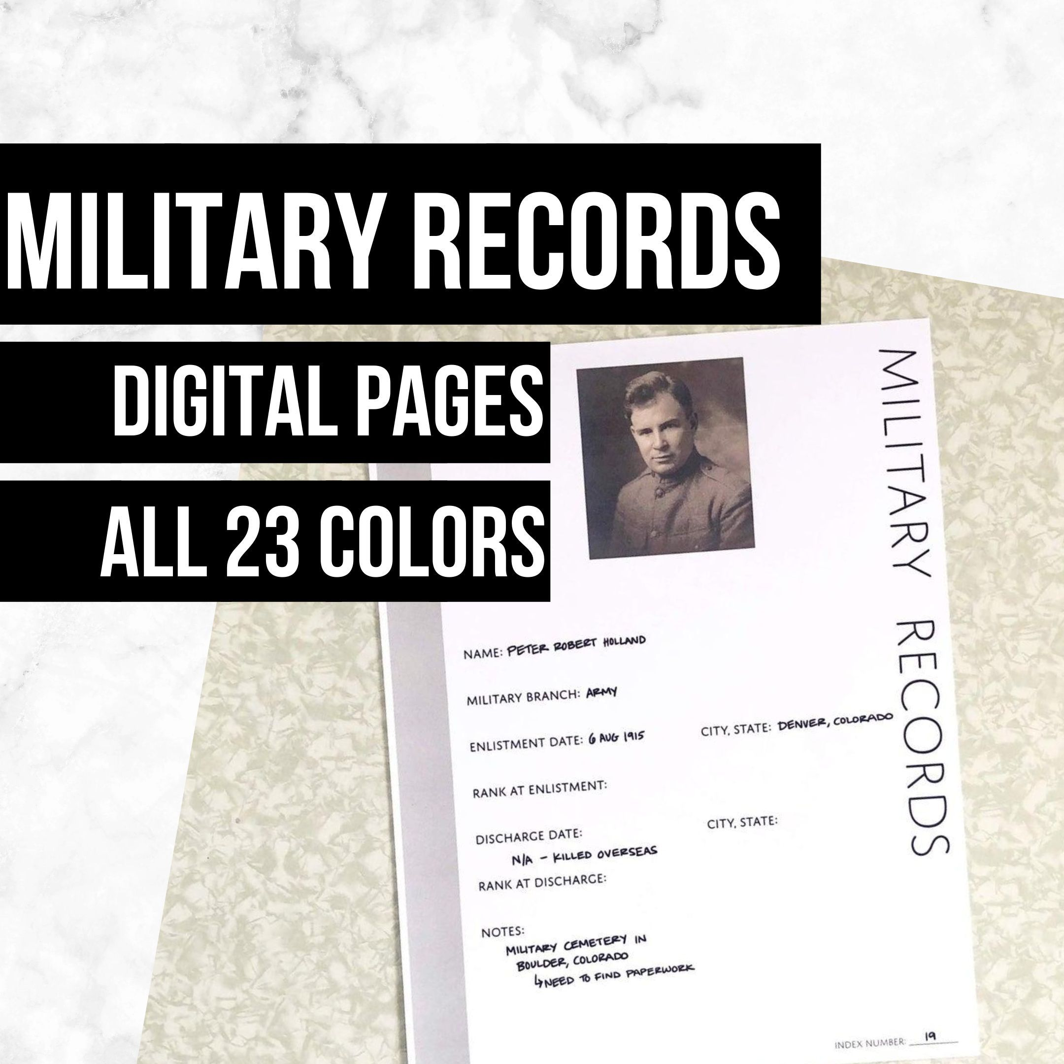 Military Records Family History Page In