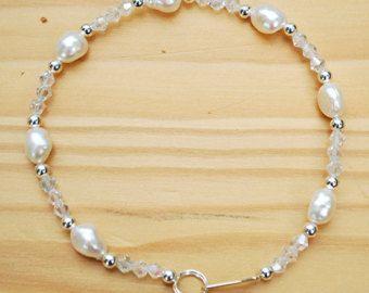 Silber vergoldet Fußkette mit Samen Perlen von BFFandMEJewelry