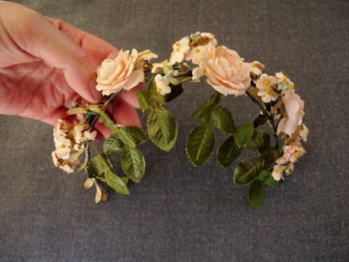 VINTAGE FABRIC & VELVET ROSE FLOWERS & LEAVES BRIDE WEDDING HAIRBAND | eBay
