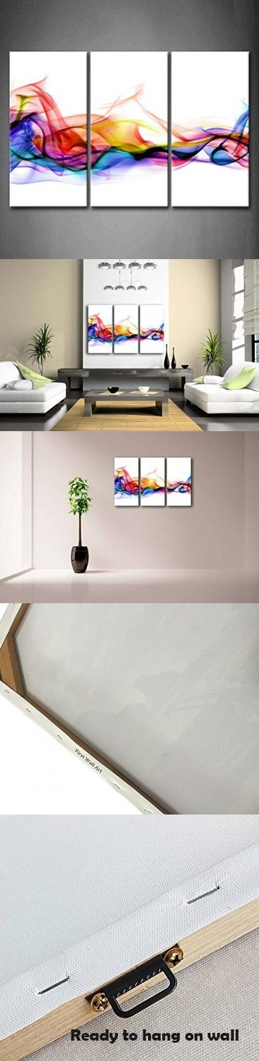 COLOURFUL SMOKE MODERN DESIGN CANVAS PRINT READY TO HANG