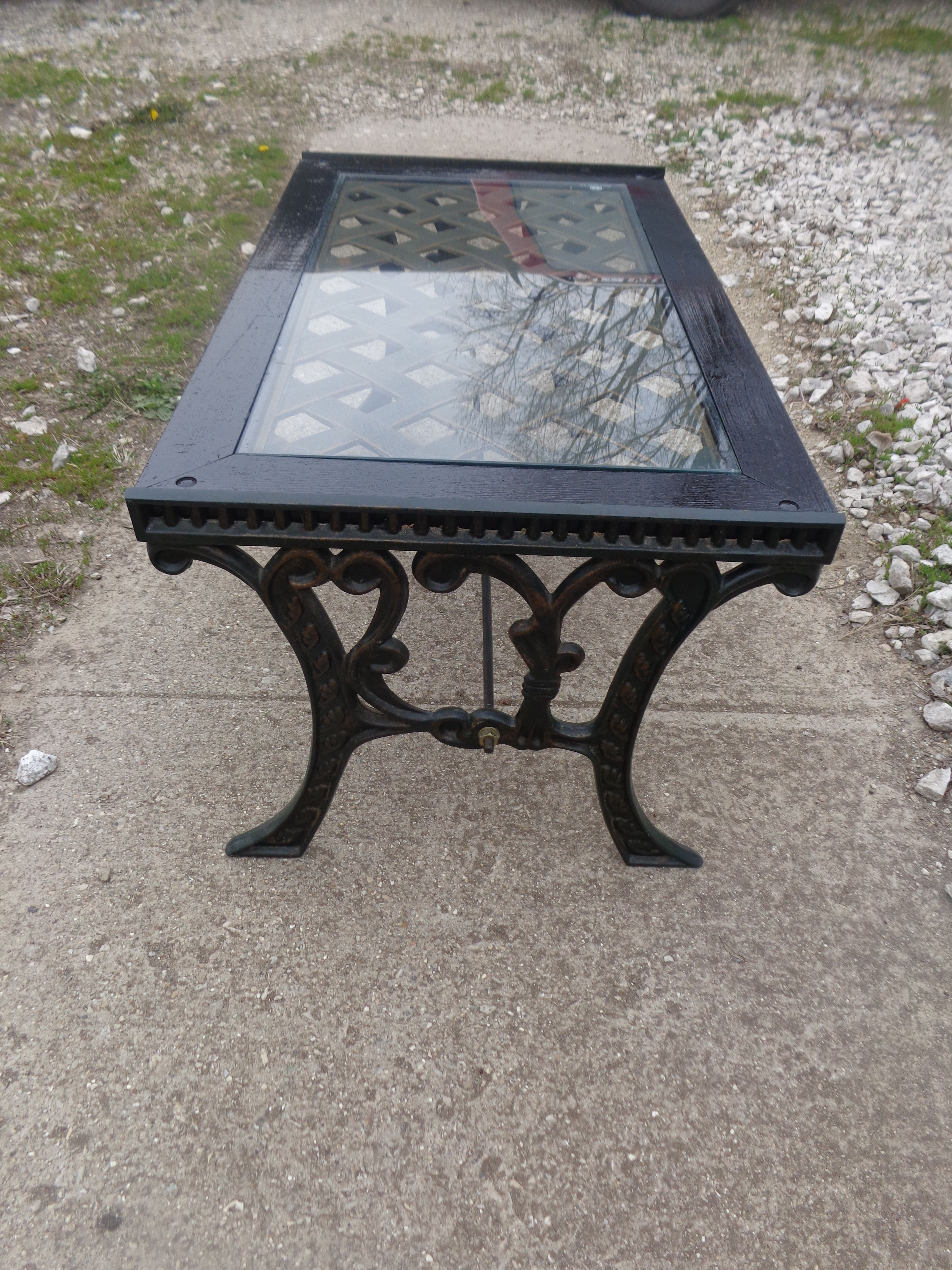 Modern Wood Glass Wrought Iron Coffee Table Cleaned Up And Painted Sealed Wood With Black Gloss Oil Based Paint Disenos De Unas Muebles [ 4608 x 3456 Pixel ]