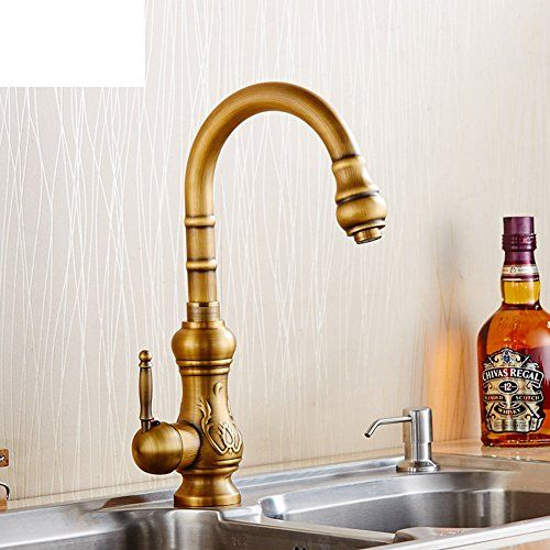 European Style Retro Kitchen Faucet Hot And Cold Water Full Of Antique Copper Kitchen Sink Dual Slot Kitchen Faucet Copper Kitchen Sink Vintage Kitchen Faucet