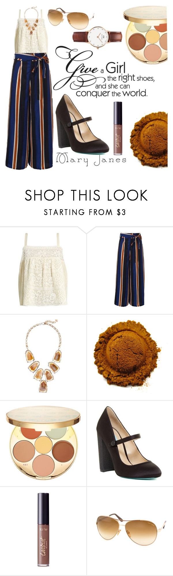 """""""Mary Janes"""" by an-open-mind ❤ liked on Polyvore featuring Sea, New York, Kendra Scott, tarte, Betsey Johnson, Tom Ford and Daniel Wellington"""