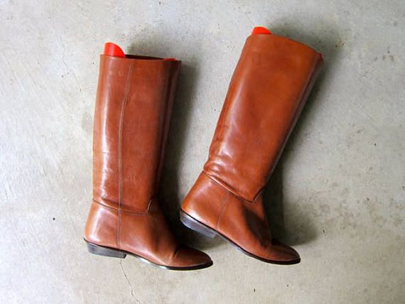 73f1077b3ce Tall Leather 90s Boots Vintage CALF HIGH Boots Supple Brown Leather ...